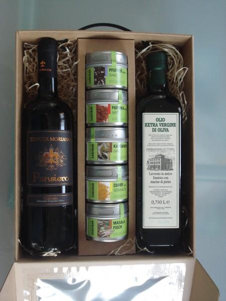Geschenkbox Gewürz, Wein, Olivenoel